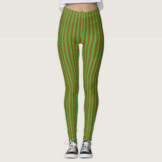 Leggings Polainas rojas y verdes abstractas de las rayas