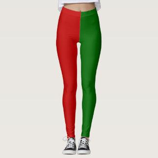 Leggings Polainas rojas y verdes del duende del navidad