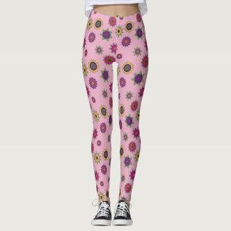 Leggings Polainas rosadas del jardín de la mandala de la
