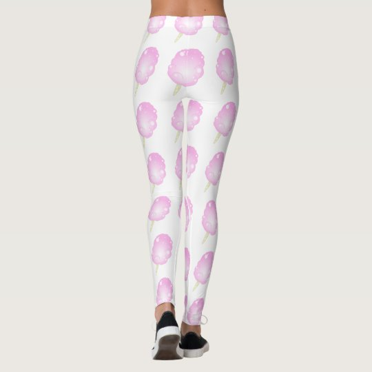 Leggings Polainas rosadas y blancas del caramelo de algodón