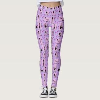 Leggings Polainas rosadas y púrpuras del maquillaje de los