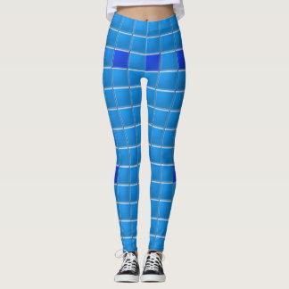 Leggings Polainas - tejas del azul del mosaico