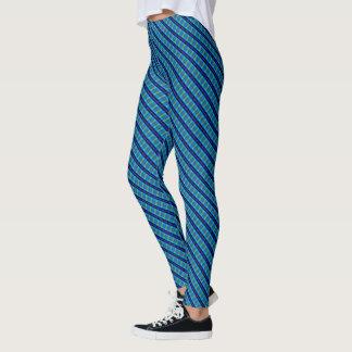 Leggings Polainas torcidas tela escocesa azul del diseñador