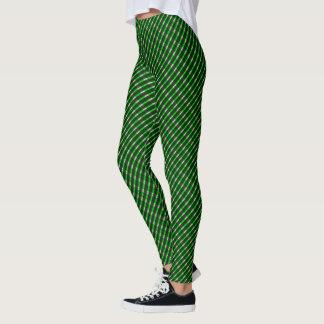 Leggings Polainas torcidas tela escocesa verde del