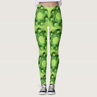 Leggings Polainas verdes de la mandala del círculo