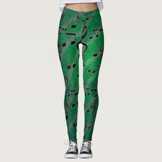 Leggings Polainas verdes de la nota de la música del Grunge