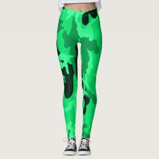 Leggings Polainas verdes de neón del chica de Camo