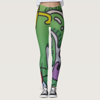 Leggings Polainas verdes del diseño del arte
