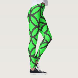 Leggings Polainas verdes vibrantes del modelo del círculo
