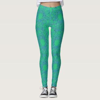 Leggings Polainas verdes y azules de la turquesa