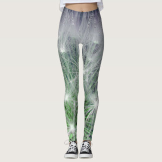 Leggings Polainas verdes y estampado de flores blanco