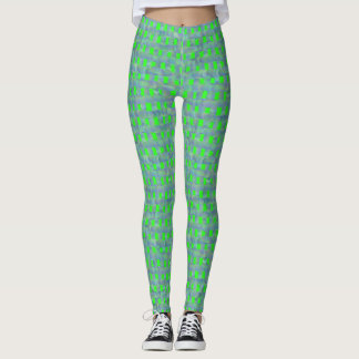 Leggings Polainas verdes y grises de la rejilla