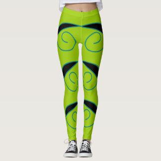 Leggings Polainas verdes y negras de moda y de moda