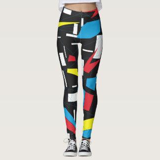 Leggings punk retro del modelo multicolor geométrico de 80s