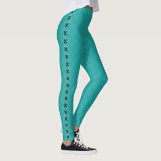 Leggings Puntadas de cuero sobre diseño de la tela del