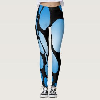 Leggings Puntos azules deformados en negro