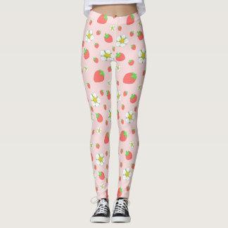 Leggings Puntos de la fresa en rosa