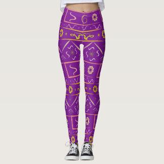 Leggings Púrpura rica de las polainas con el modelo étnico