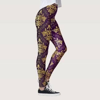 Leggings Púrpura y damasco del oro