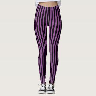 Leggings Raya vertical negra púrpura Halloween