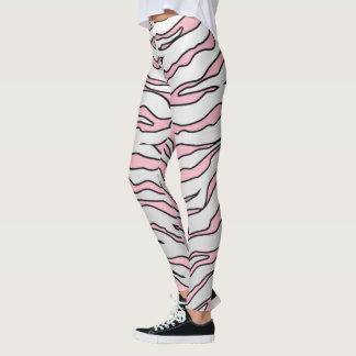 Leggings Rayas animales blancas y rosadas de los tigres