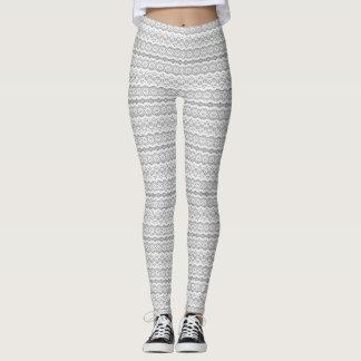 Leggings Rayas del modelo del cordón diseño gris y blanco