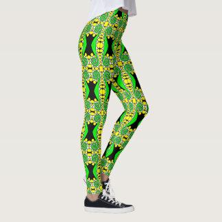 Leggings Remolino verde w/Yellow y polainas blancas el |