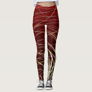 Leggings Rojo de oro del remolino complejo - polainas