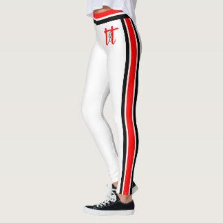 Leggings Rojo/rayas negras en blanco