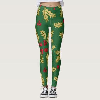 Leggings Rojo y bayas y hojas del acebo del oro en acuarela