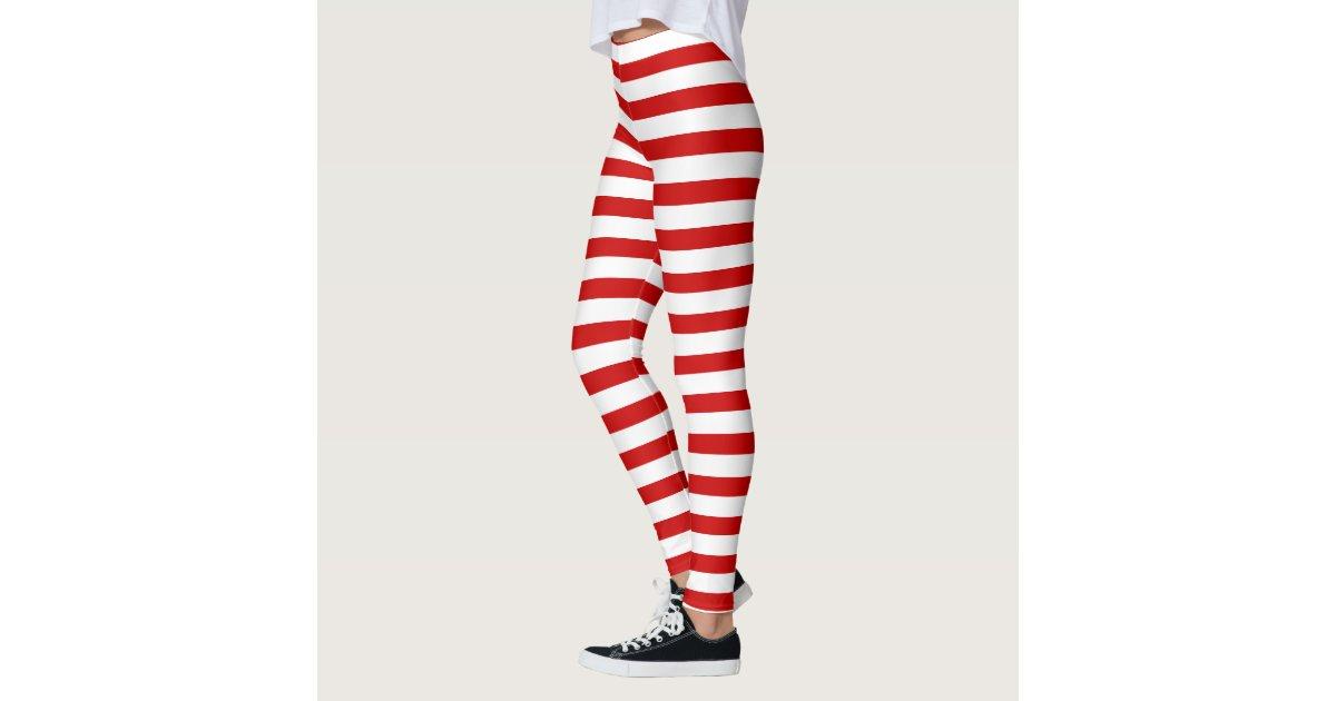 Leggings Rojo y blanco raya el modelo del duende del | Zazzle.es