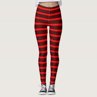 Leggings Rojo y polainas de las rayas negras