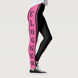 Leggings Rosa de Clogger y bailarines de obstrucción negros
