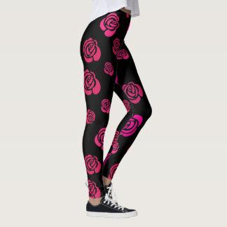 Leggings Rosas rojos, rosados, magentas en ejercicio negro