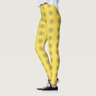 Leggings Su color con las flores de OM