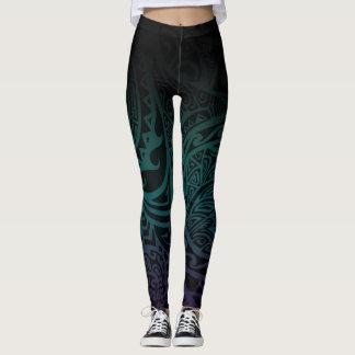 Leggings Tatou V - Polainas verde azuladas y púrpuras de