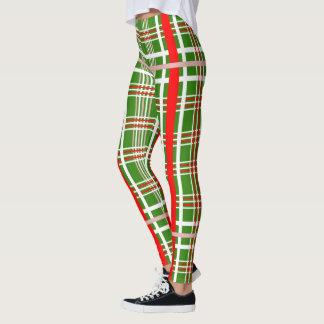 Leggings Tela escocesa del navidad - blanco rojo y (su