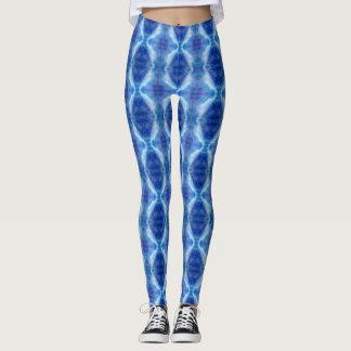 Leggings Teñido anudado azul, azul claro y púrpura de la