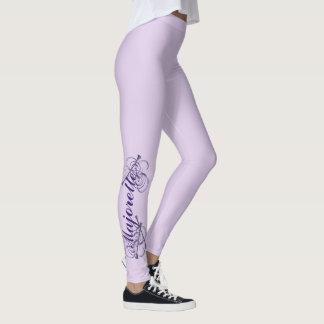 Leggings Texto y bastones púrpuras del Majorette
