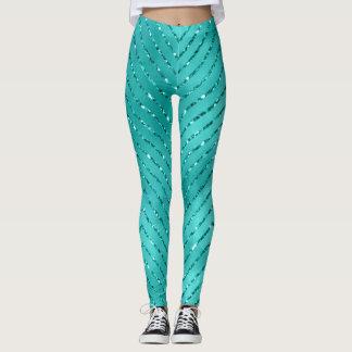 Leggings Tiffany Chevron cristalino metálico azul acuático