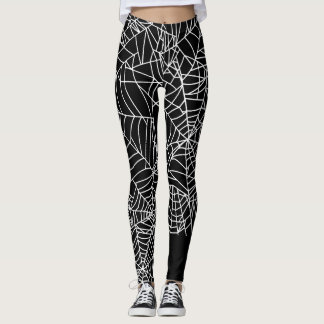 Leggings Traje blanco negro de Halloween del Web de araña