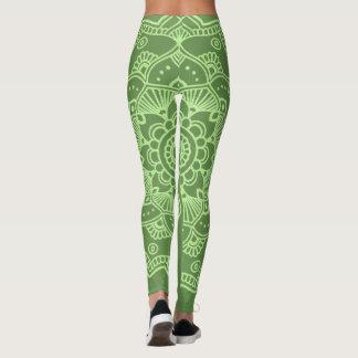 Leggings Verde de las polainas de la yoga/verde claro