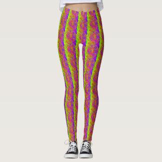 Leggings vertical púrpura del amarillo del modelo de la
