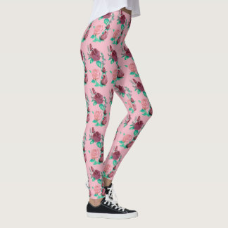 Leggings w/Green color de rosa rojo y rosado deja la