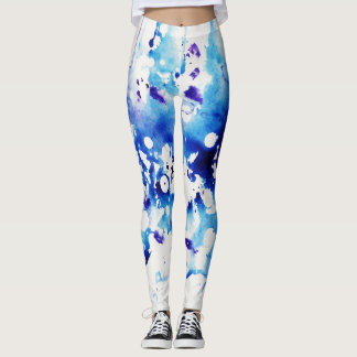 Leggings Watercolored azul y blanco