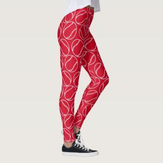 Leggings Yoga roja blanca del modelo de los béisboles