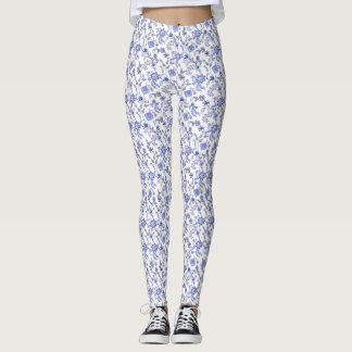 Leggings Zaraza floral gris y blanca azul clara