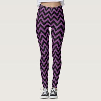 Leggings Zigzag púrpura y negro del modelo de los galones
