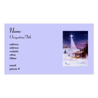 Lejos en una tarjeta de visita de Avery del pesebr