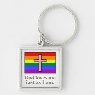 Lema cristiano gay de la bandera llavero personalizado